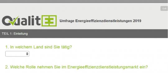 Umfrage Energieeffizienz-Dienstleistungen 2019 online!
